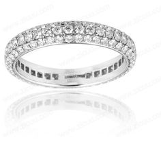 Magnificent three row diamond micro pave eternity rings in gold E010
