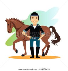 clip art horse groom | Jockey design concept set with stable equestrian sport awards flat ...