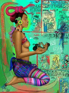 Ixchel : diosa del amor, de la gestación, de los trabajos textiles, de la luna y la medicina.En textos jeroglíficos su nombre es Chak Chel (arco iris grande), en el Chilam Balam su nombre es Ix Chel (mujer arco iris).