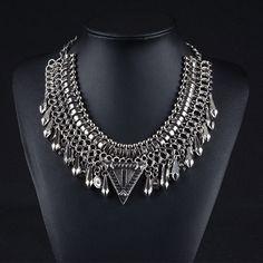 7.02€ - Rivet Tassel Women Gipsy Style pendant Necklace  Vintage Metal Statement 8725 - Best Lady Jewelry Store