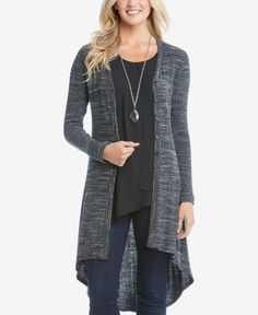 Essential for everyday layering, Karen Kane's duster cardigan offers style, versatility and comfort. | Rayon/polyester/cotton/spandex | Hand wash or dry clean | Made in USA | Collarless | Button closu