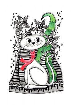 cat, christmas, zentangle, art, drawing, fineliner