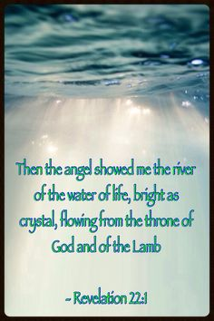 Then the angel showed me a river of the Water of Life—bright as crystal, flowing from the throne of God and of the Lamb Revelation Bible Verses Quotes, Bible Scriptures, Revelation 22, The Kingdom Of God, Spiritual Inspiration, Found Out, Word Of God, Christian Quotes, Jesus Christ