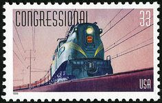 The Congressional, 33-cent All Aboard! 20th Century Trains commemorative stamps.