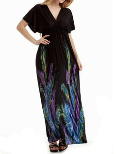 Black Short Sleeve A-line Plunging Neck Maxi Dress