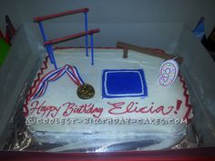 Coolest Gymnastics Cake... This website is the Pinterest of birthday cake ideas