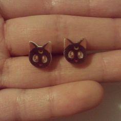 Sailor Moon Luna post earrings. $9.00, via Etsy.