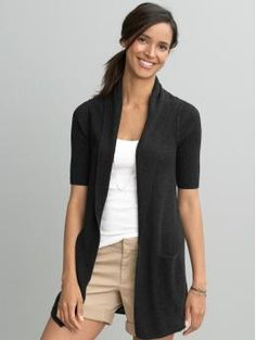 Rib-knit long open cardigan in black.