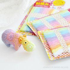 A mini version of Heidi Bears' 'Happypotamus' African flower crochet design