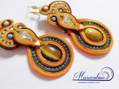 Orange earrings soutache earrings soutache by Marecalmojewels