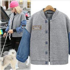 2017 Winter Jacket Jeans Patchwork Varsity Baseball Coat Women College University Jacket Coats Casual Loose Outwear Female