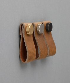 LEATHER FURNITURE PULL | Magni Raw Umber