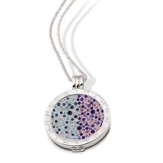 Vinnie Design Jewelry Purple and Blue Crystals Coin Set in Silver Pendant Necklace Moneda with Ball Chain. Jewelry Accessories, Jewelry Design, Silver Pendant Necklace, Blue Crystals, Ball Chain, Fashion Jewelry, Wedding Rings, Pendants, Engagement