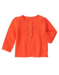 Textured Bright Coral Dot Cardigan (Cute on the Coast: $5.29  sizes: 6-12 months, 3T, 4T, 5T)
