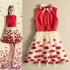 red Lips embroidered gauze tutu dress