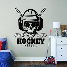 ALL HOCKEY STICKERS Hockey Goalie, Hockey Mom, Hockey Players, Ice Hockey, Wall Stickers Room, Wall Decals, Team Quotes Teamwork, Hockey Bedroom, Hockey Gifts