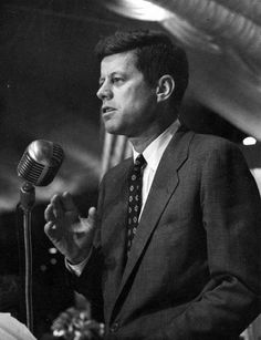 """Senator John F. Kennedy speaking at a dinner of the Fall River Assumption Circle in Fall River, Massachusetts. Please credit """"John F. Kennedy Presidential Library and Museum, Boston"""""""