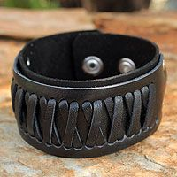 Natural black leather wristband #bracelet
