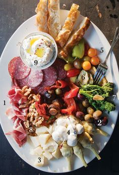 """From SAVEUR Issue #143 Is there a better way to start a meal than with an abundant antipasti platter, artfully arranged with ruffles of prosciutto, briny olives, roasted red peppers, marinated artichokes and mushrooms and pepperoncini, chunks of Parmesan, fresh mozzarella, and whatever else catches the preparer's fancy? Antipasto, which means """"before the meal,"""" stretches back to medieval times in Italy, when diners used to mingle over finger foods, both sweet and savory, before sitting down…"""