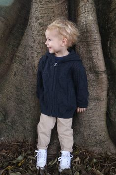 Kids Cable Hoodie in 'Charcoal', by Jude Knitwear Australia. Knitted in Australia, in 100% Merino Wool. Available from: https://www.judeaustralia.com/product/kids-cable-jumper/