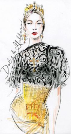 Dolce and Gabbana Fashion Illustration Fashion Illustration Sketches, Illustration Mode, Fashion Sketchbook, Fashion Sketches, Fashion Drawings, Moda Chic, Fashion Art, Fashion Design, Milan Fashion