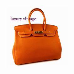 #HERMES Birkin35 Orange With Gold Hardware Good Condition