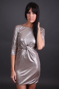 Metallic Twist Dress Only $29.99 #sophieandtrey #online #shopping #shop #womens #clothing #clothes #style #fashion #trend #musthave #need #nightout #party #dress #metallic #tight
