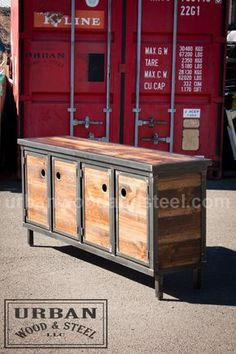 This sturdy piece has plenty of storage for all your electronics and will add an industrial edge to any space. The Shipyard Media Console is made from distressed wood, waxed raw steel, and an optional concrete top. It features 3 front facing doors, a large, open interior space, and steel legs. Available with a wood or a concrete top (concrete top shown). DIMENSIONS: 72W x 18D x 34H ************************************************************************************ Please read our shipping…