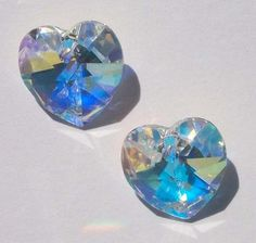 Copy of 2 Swarovski 10mm crystal HEART Pendants Style 6202 CRYSTAL AB