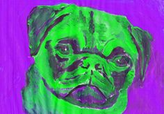 Pug Painting art print, Green Purple colorful Abstract Pug art, Pug owner gift, colorful dog art, dog painting, dog… #dogs #etsy #art