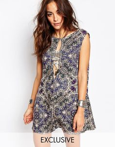 cad5bfa0ffc Milk It Vintage Playsuit With Deep V Back And Cut Out Front In Paisley at  asos.com. Playsuit RomperJumpsuitAsosWhite ...