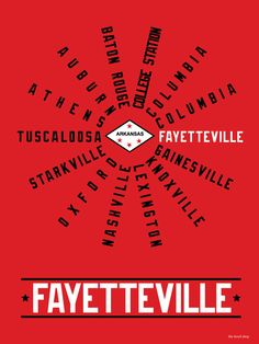 Fayetteville Arkansas SEC Conference Hood Print $20