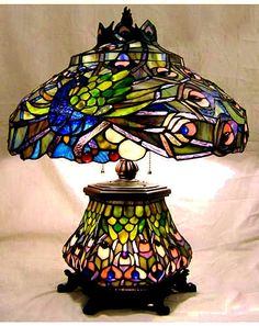 Peacock Tiffany Stained Glass Lamp $199