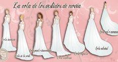 ¿Tú vestido de novia llevará cola? Si todavía no lo has decidido, descubre todos los tipos que hay.