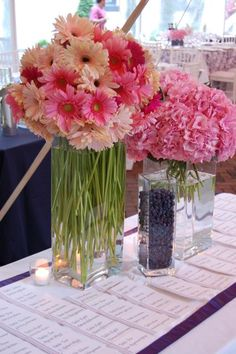 This is a great idea for a card table - the multi colored gerberas with the green stems - and we could mix tulips in with the carnations