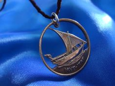 UAE Boat Cut Coin Pendant Necklace Jewellery Boat by TheCoinsShop Coin Jewelry, Copper Jewelry, Jewelry Necklaces, Jewellery, Coin Pendant Necklace, Ring Earrings, Handmade Jewelry, Unique Jewelry, Handmade Gifts
