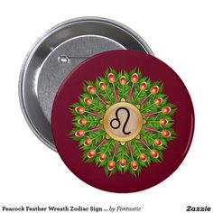Peacock Feather Wreath Zodiac Sign Leo 3-inch Round Button (All Zodiac Symbols Available)