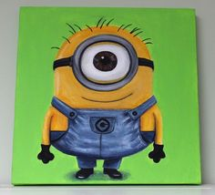 Minion Despicable Me Painting Canvas Green by FrontPorchPainting