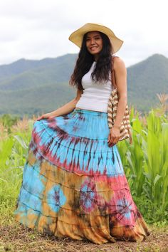 Boho Skirt / Maxi Skirt / Maxi Boho Skirt /Modest Skirt / Beach Skirt /Full Length skirt / Tie Dye Skirt/ Long Skirt Modest Skirts, Long Maxi Skirts, Boho Skirts, Full Length Skirts, Plus Size Skirts, Beautiful Long Dresses, Beautiful Ladies, Tie Dye Skirt, Dress Skirt