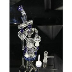 Double Blast Percolator Recycler Glass Bubbler Bong Water Pipe Oil Rig