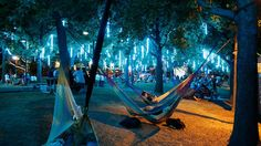 Just thinking about the hammock Park in Philly by Harbor Park, Visit Philadelphia, South Philly, Parking Design, Tree Lighting, End Of Summer, Landscape Lighting, Hammock, North America