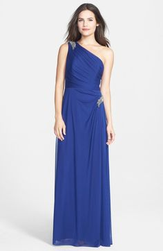 Alex Evenings Beaded One-Shoulder Mesh Gown (Regular & Petite) in Blue (electric/ blue)