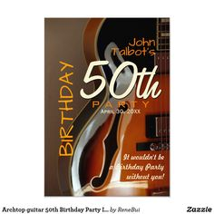 Archtop guitar 50th Birthday Party Invitation