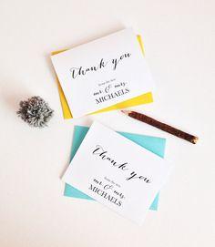 Wedding Thank You cards - Personalized Custom Wedding Thank you's - wedding card notecard