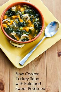 Slow Cooker Turkey (or Chicken) Soup with Kale and Sweet Potatoes; this can cook all day while you're at work, then add the kale and turkey and finish cooking when you get home. [from Kalyn's Kitchen] #SlowCooker  #HealthyCooking