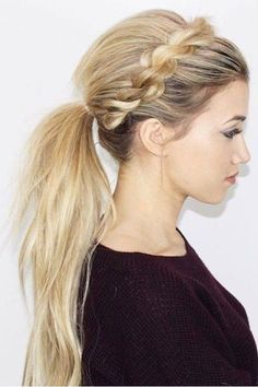 This style gives a standard ponytail a very regal effect.Found here.