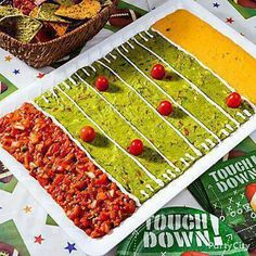 Perfect dip for a football party! Squeeze some lemon or lime juice into the guacamole so that it doesn't brown right away!
