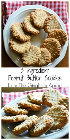 3 Ingredient Peanut Butter Cookies! Flourless, grain-free,  gluten free, and so simple.
