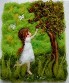 Cherry Girl by Felt With Heart Mehr Wet Felting, Needle Felting, Waldorf Crafts, Felt Tree, Felt Pictures, Hand Embroidery Flowers, Felt Fairy, Africa Art, Felt Crafts