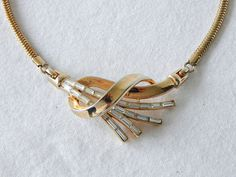 Trifari Rhinestone Necklace Comet Baguette by EclecticVintager